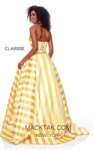 A Gorgeous Stripped Strapless Evening Dress