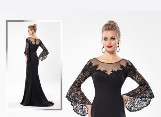 Majestic Floral Lace Long Bell Sleeve So Lady 5189 Dress