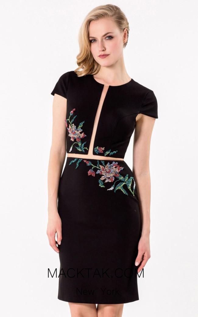 Terani 1521C0231A Black Front Evening Dress