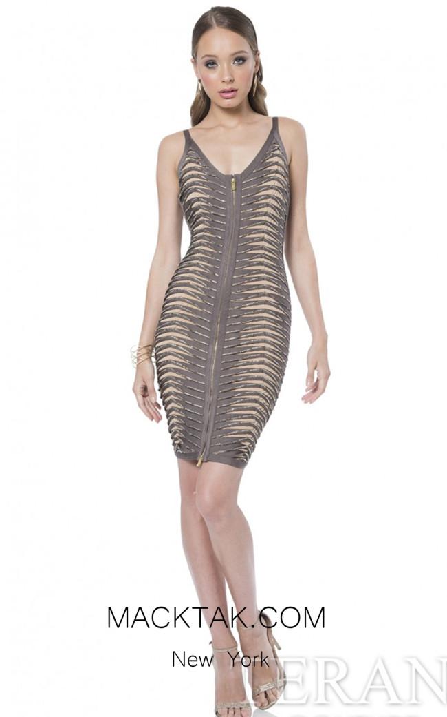Terani 1611C0043A Taupe Nude Front Evening Dress