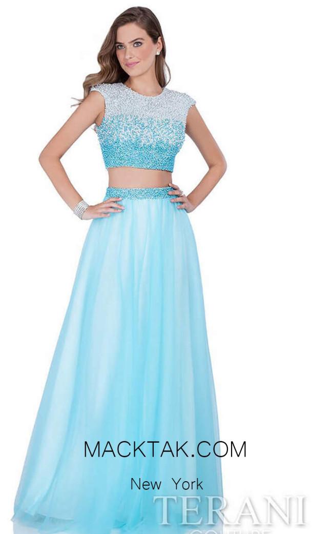 Terani 1611P1352 Blue Ivory Front Dress