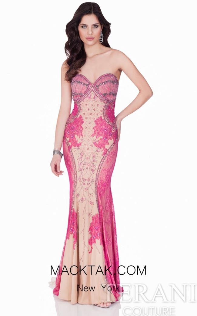 Terani 1621E1458 Fuchsia/Nude Dress