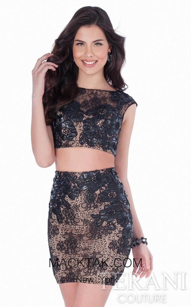Terani 1623H1216 Black/Nude Dress