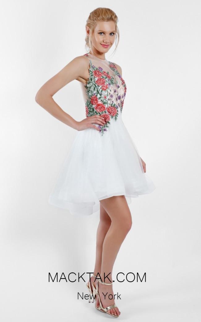Terani 1721H4517 Ivory Multi Front Evening Dress