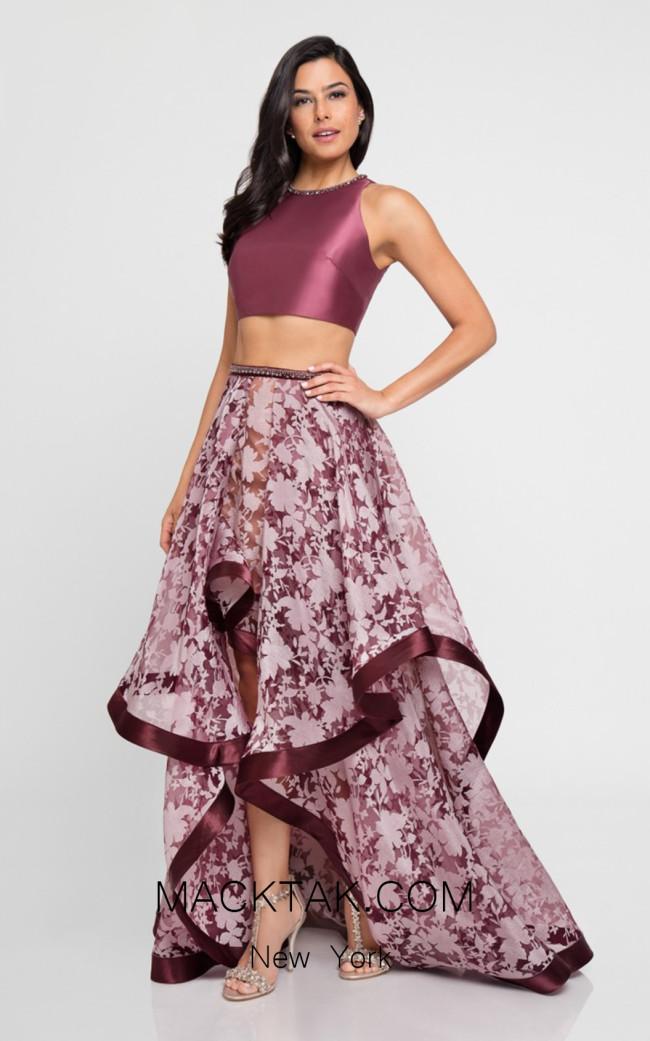 Terani 1721H4539 Wine Front Evening Dress