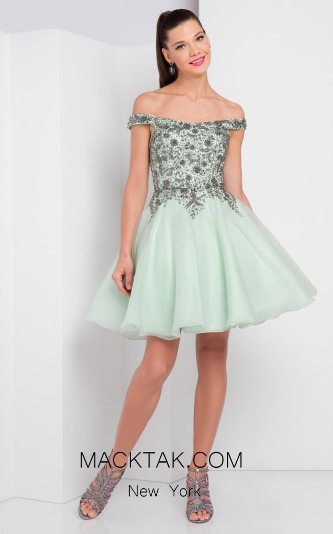 Terani 1721H4547 Mint Gunmetal Front Evening Dress