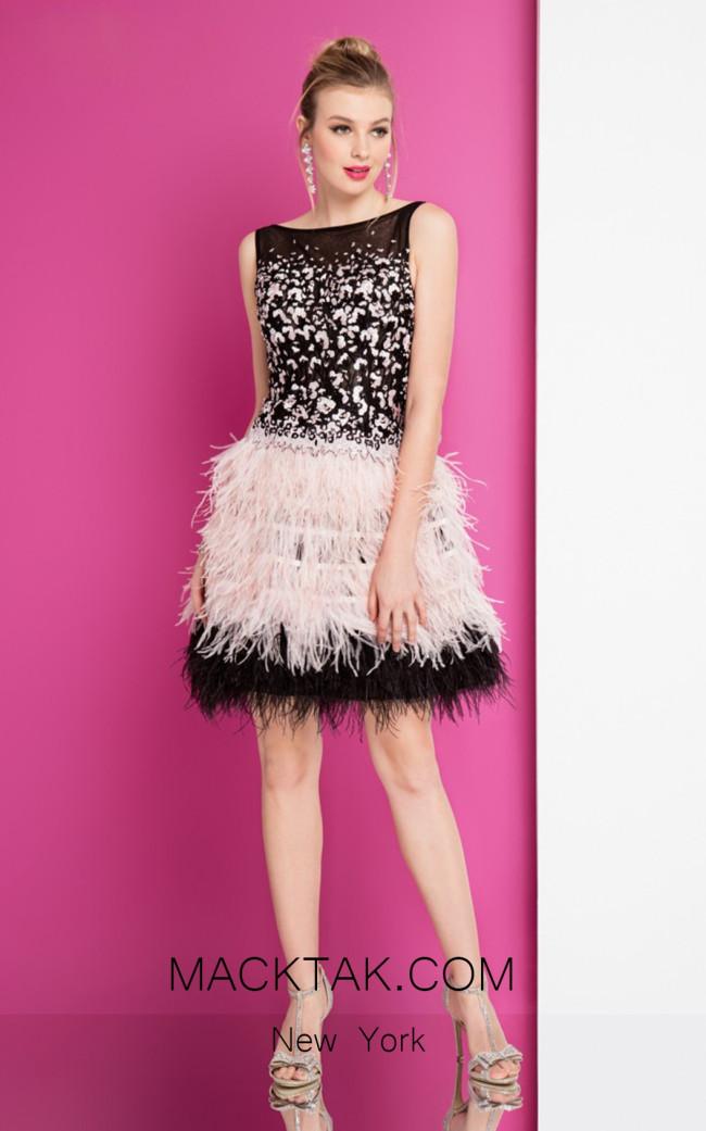 Terani 1721H4554 Black Blush Front Evening Dress