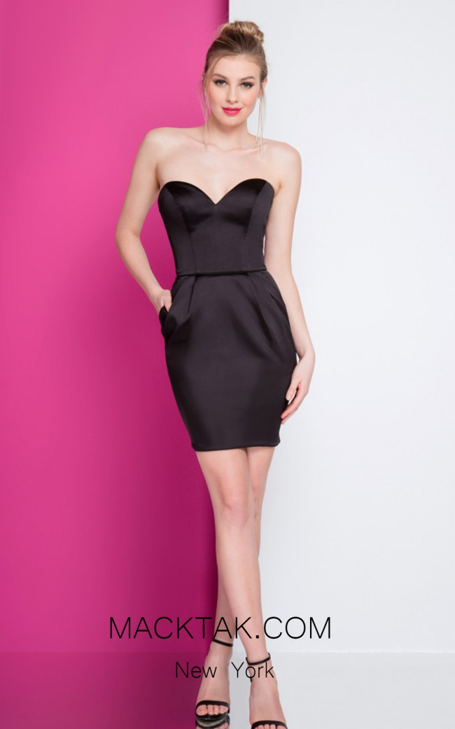 Terani 1722H4599 Black Front Evening Dress