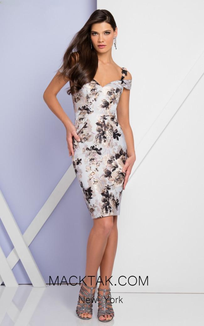 Terani 1723C4078 Silver Multi Front Evening Dress