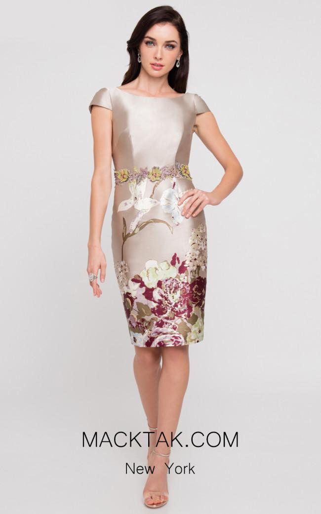 Terani 1811C6023 Champagne Multi Front Dress