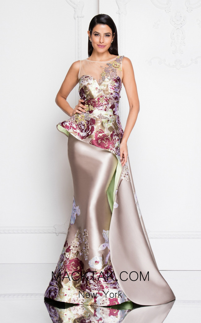 Terani 1811E6124 Champagne Multi Front Dress