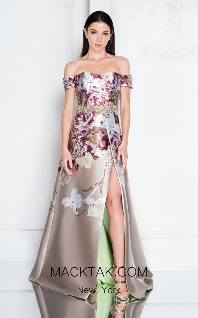 Terani 1811E6125 Champagne Multi Front Dress