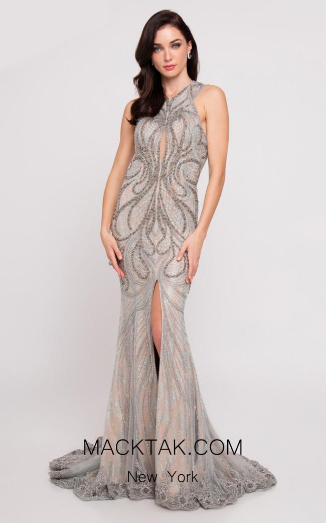 Terani 1811GL6411 Silver Gunmetal Front Dress