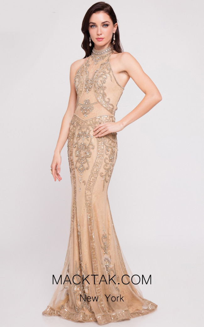 Terani 1811GL6433 Champagne Nude Front Dress