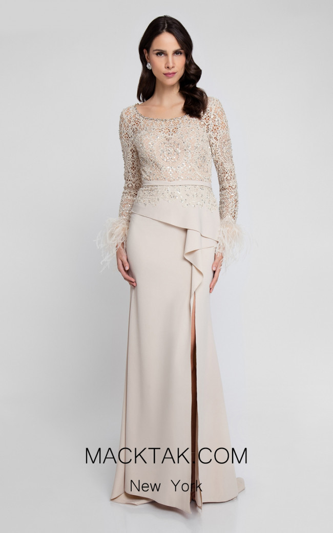 Terani 1811M6568 Champagne Nude Front Dress