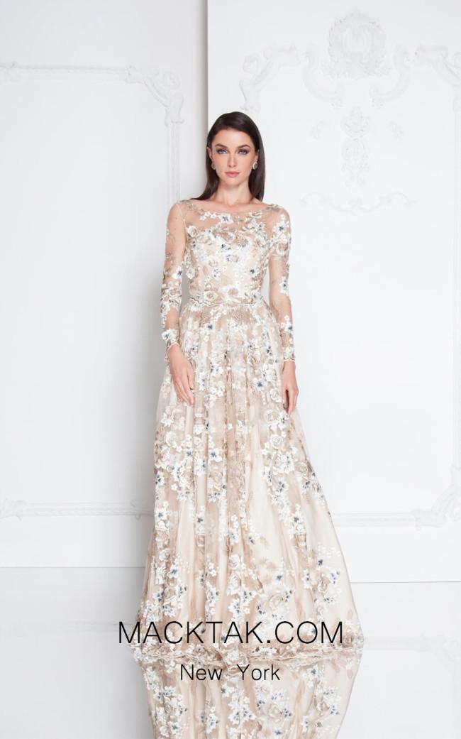 Terani 1811M6584 Champagne Front  Evening Dress