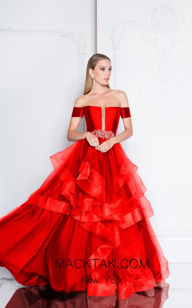 Terani 1811P5838 Red Front Dress
