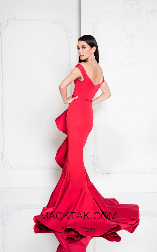 Terani 1812E5384 Red Back Evening Dress