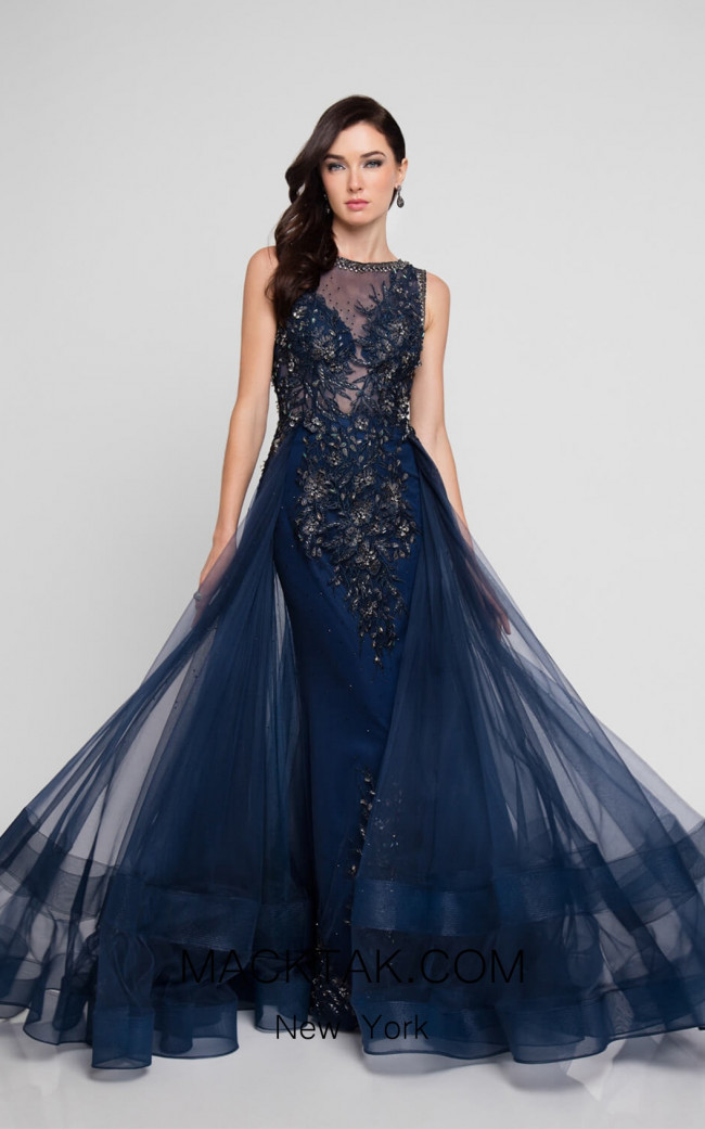 Terani 1812E6266 Navy Front Evening Dress