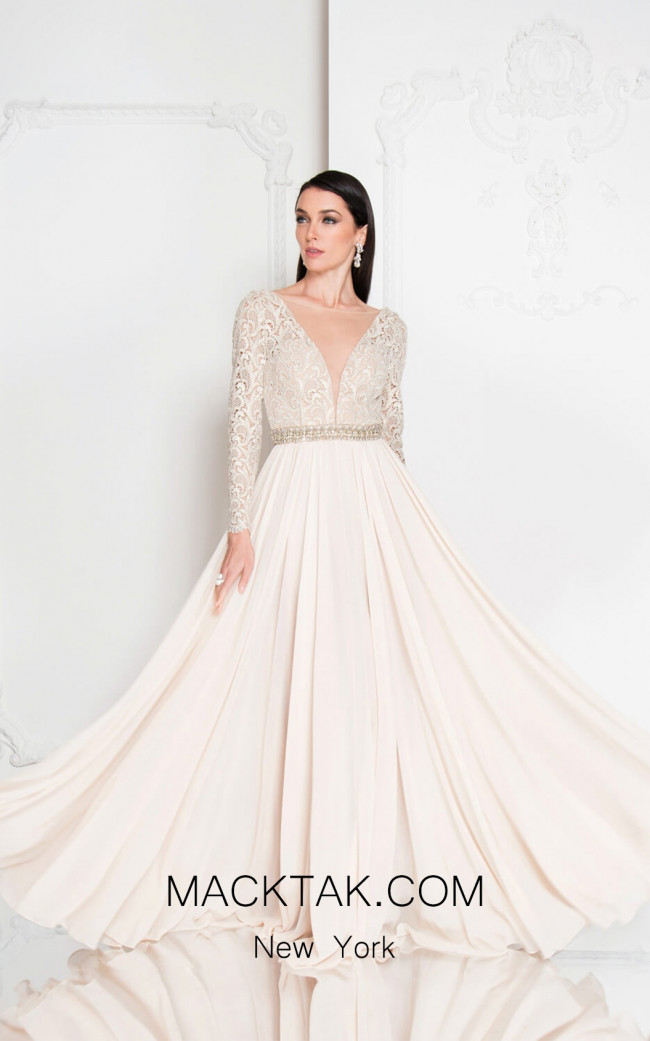 Terani 1812M6650 Light Champagne Front Evening Dress