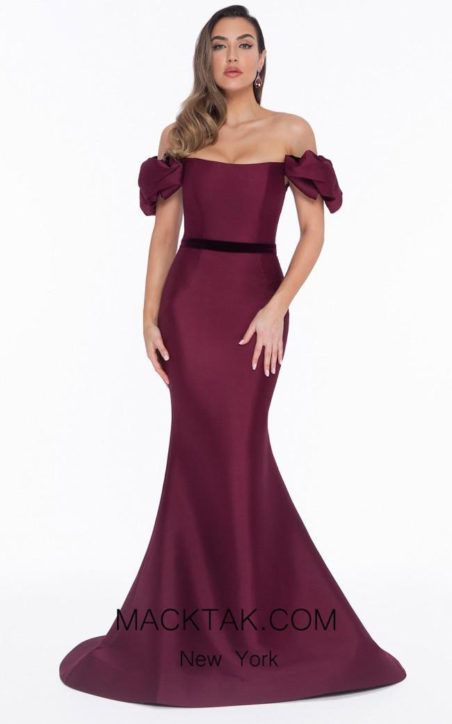 Terani 1821E7107 Wine Front Dress