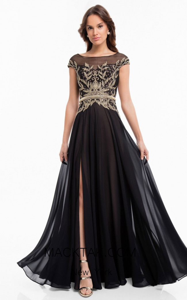 Terani 1822E7255 Black Front Evening Dress