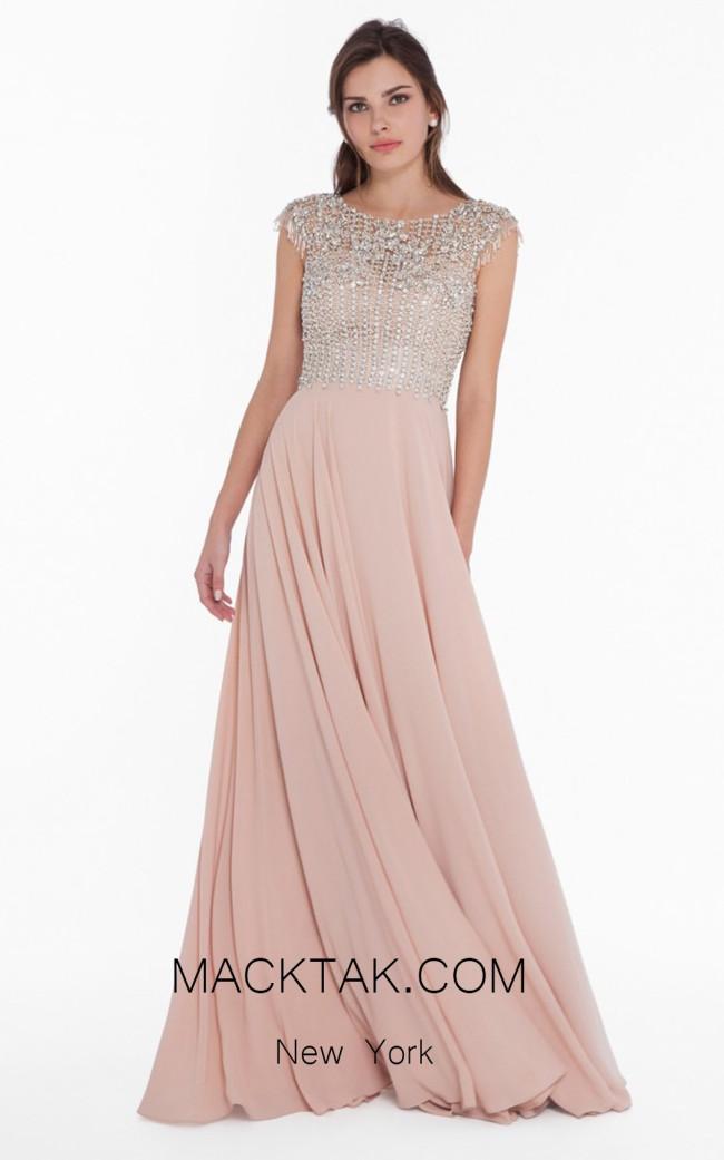 Terani 1822M7658 Champagne Front Evening Dress