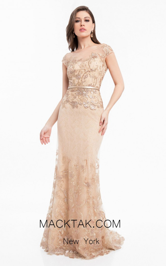 Terani 1823M7704 Rose Gold Nude Front Evening Dress