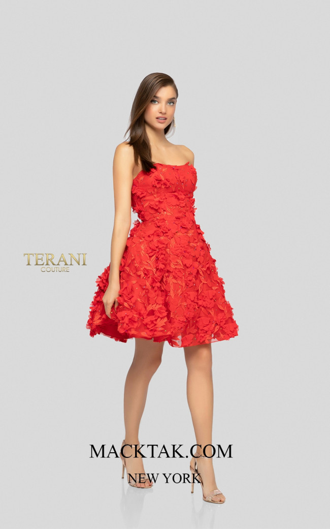 Terani 1911P8057 Red Red Front Dress
