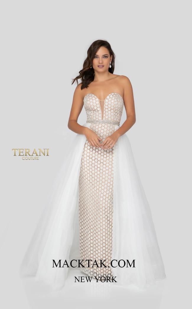 Terani 1911P8108 Ivory Nude Front Dress