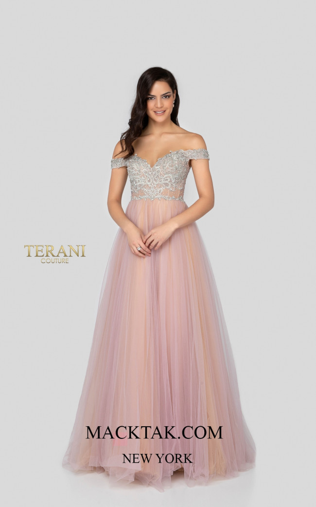 Terani 1911P8120 Lilac Nude Front Dress