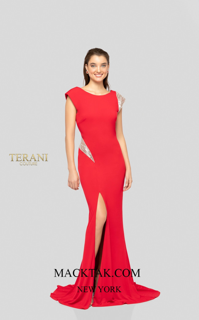 Terani 1911P8136 Red Silver Front Dress
