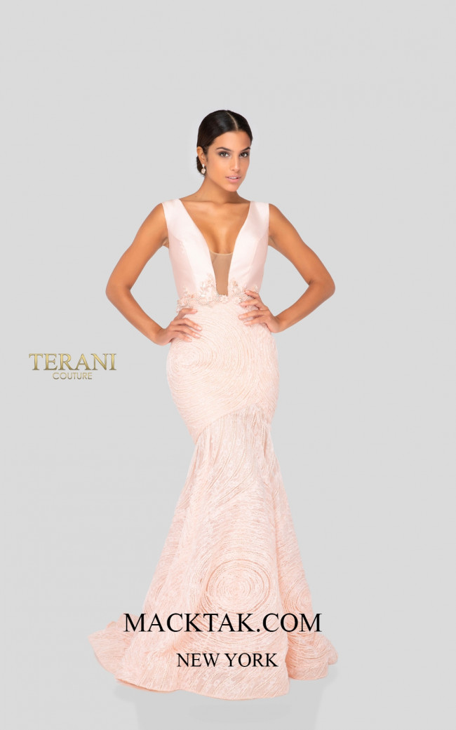 Terani 1911P8158 Blush Nude Front Dress