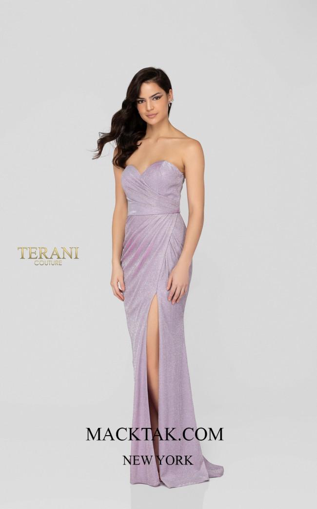 Terani 1911P8173 Lilac Silver Front Dress