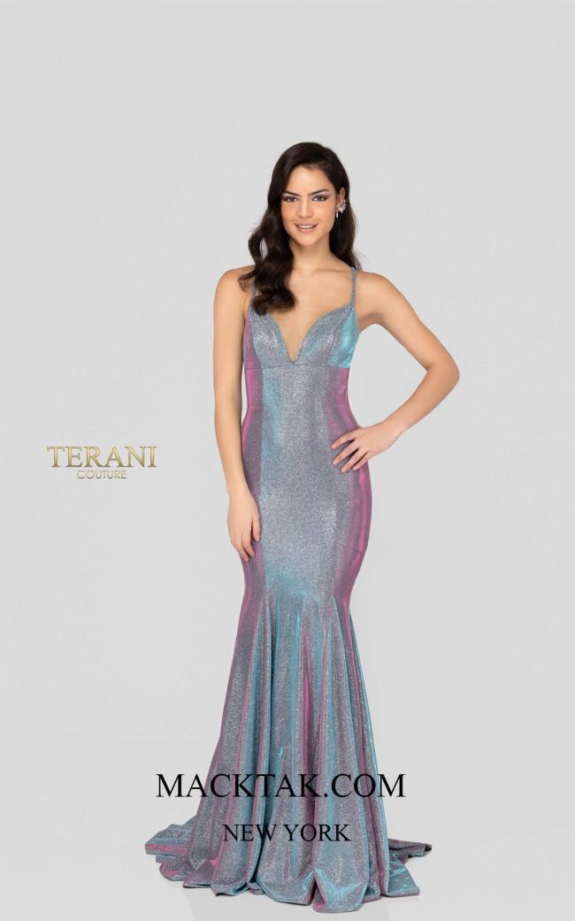 Terani 1911P8174 Blue Orchid Front Dress