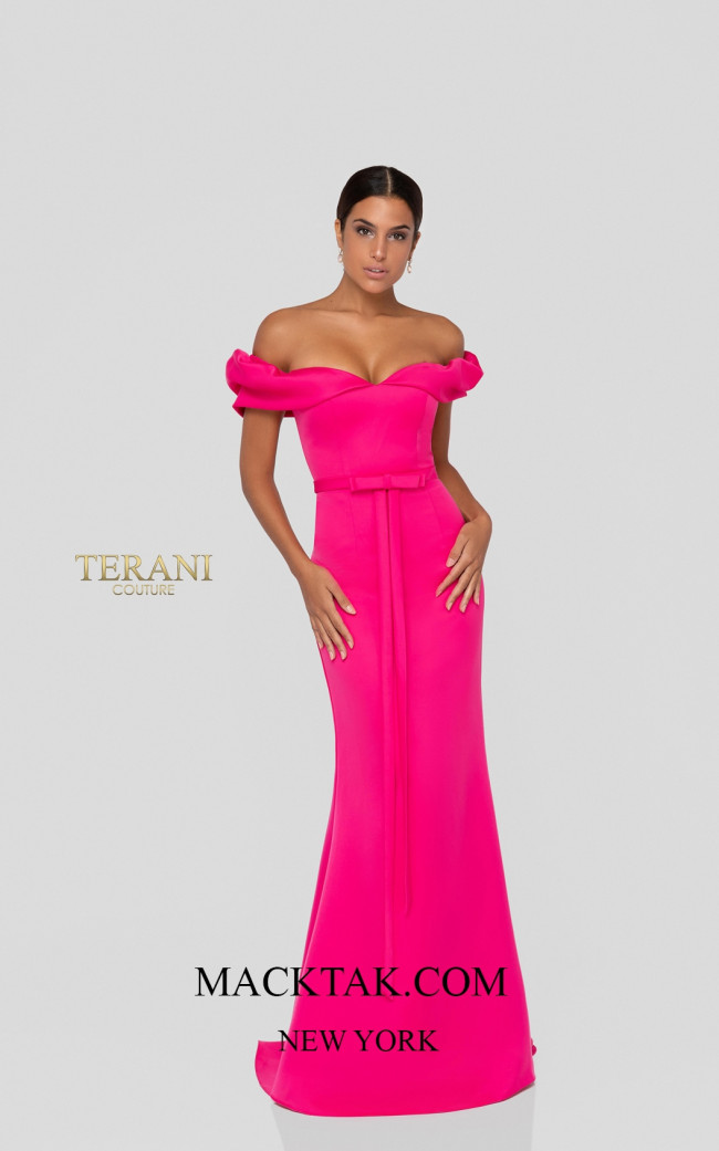 Terani 1911P8183 Hot Pink Front Dress