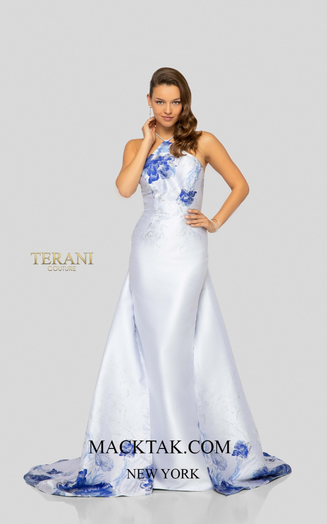 Terani 1911P8185 White Denim Silver Front Dress