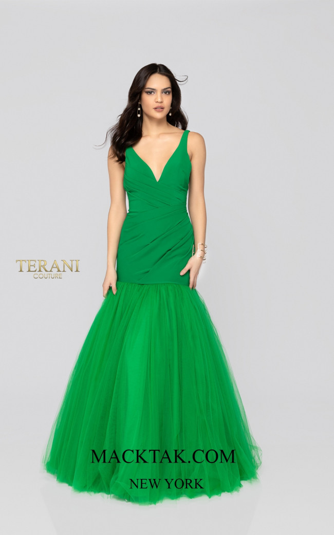 Terani 1911P8349 Emerald Front Dress