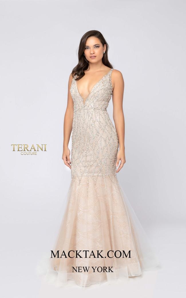 Terani 1911P8352 Ivory Nude Front Dress