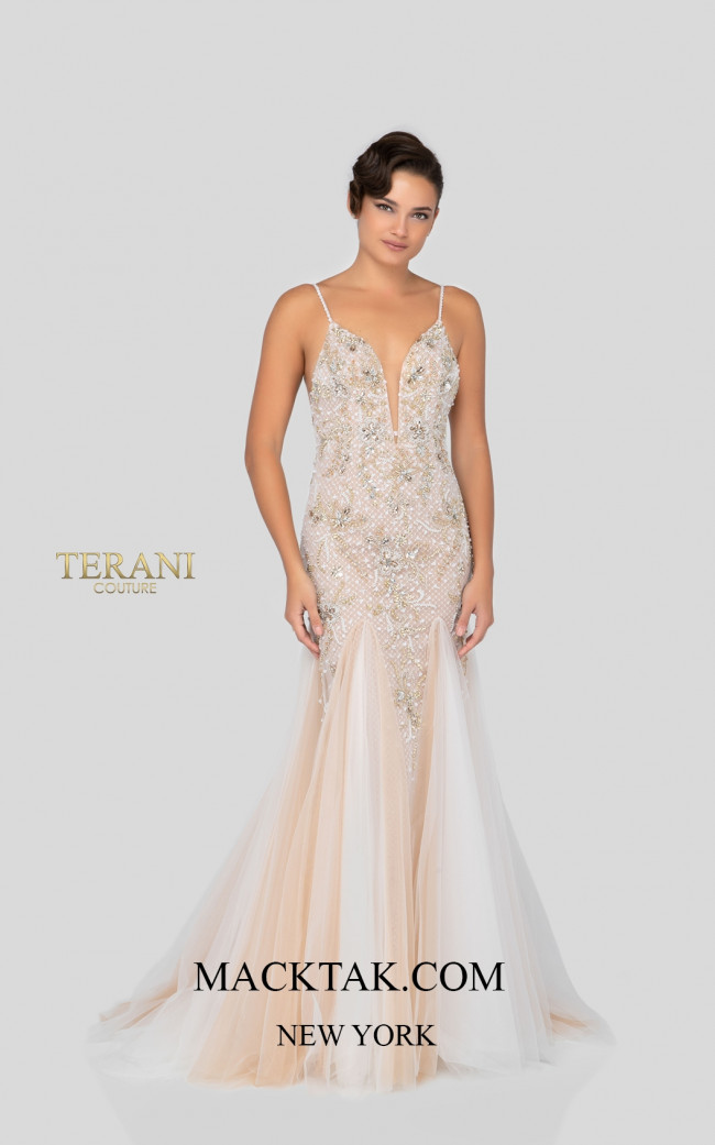 Terani 1911P8356 Ivory Nude Front Dress