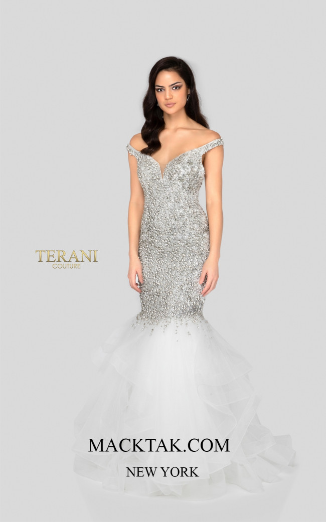 Terani 1911P8363 Crystal Ivory Front Dress