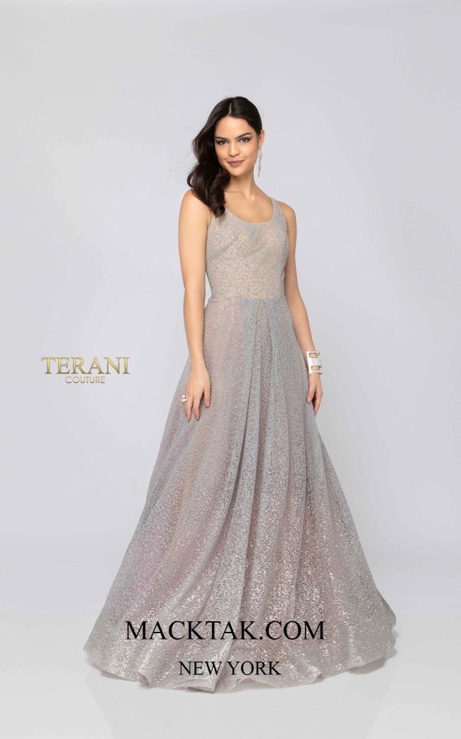 Terani 1911P8481 Silver Aqua Front Dress