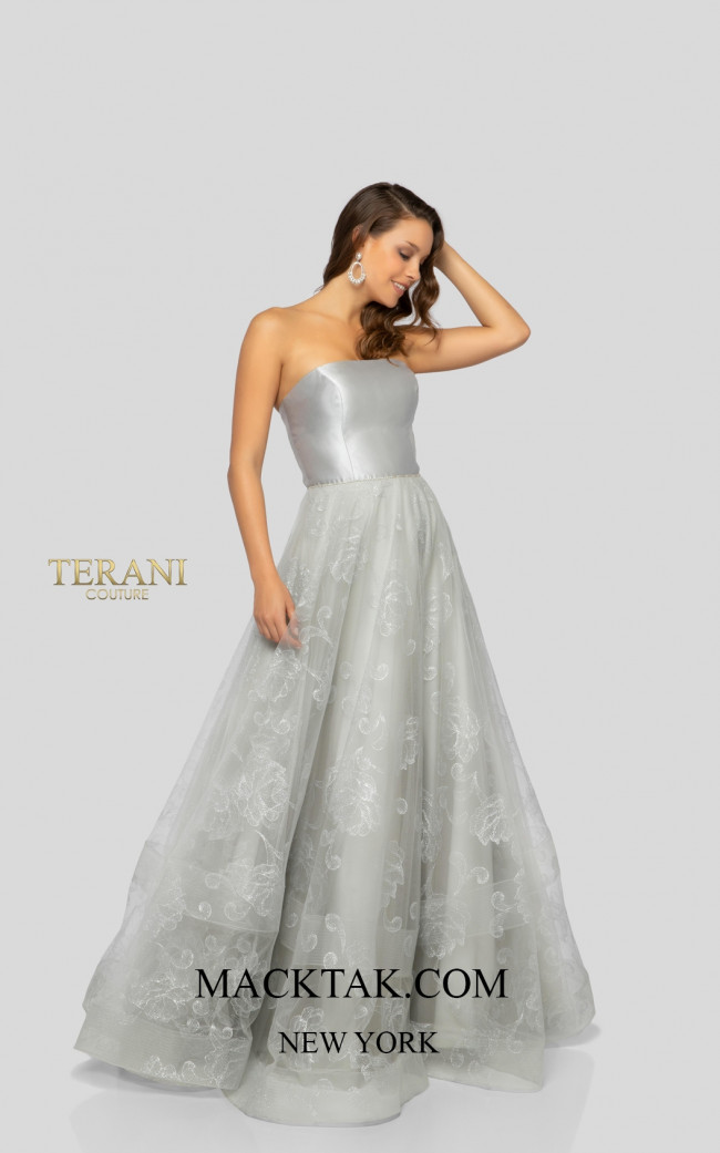 Terani 1911P8487 Silver Silver Front Dress