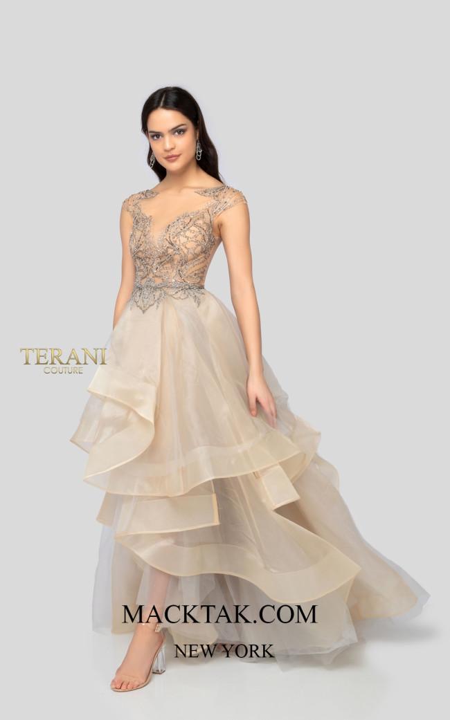 Terani 1911P8500 Apricot Silver Front Dress