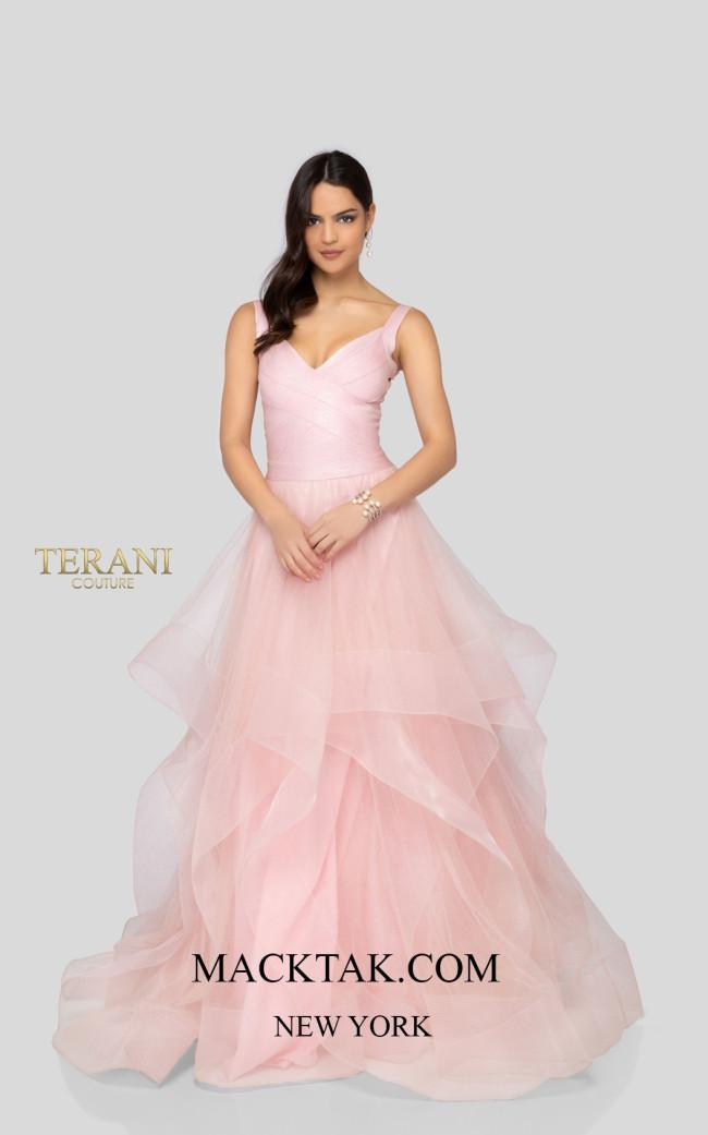 Terani 1911P8512 Blush Silver Front Dress