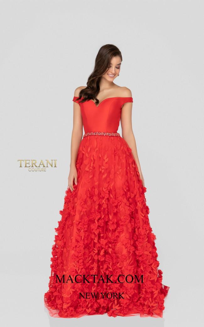 Terani 1911P8513 Red Front Dress