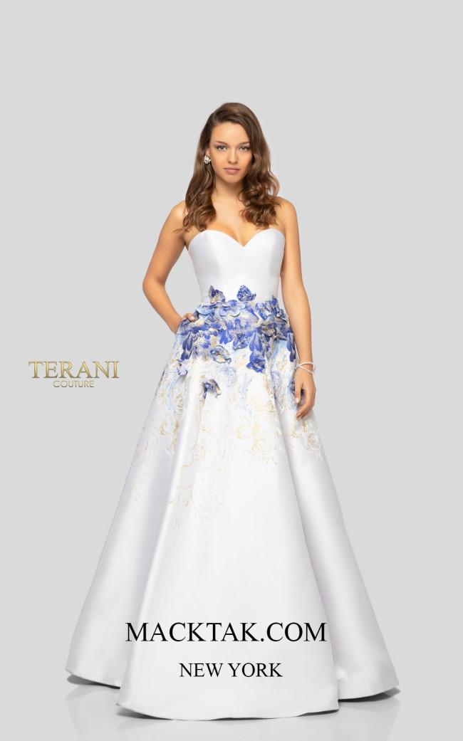 Terani 1911P8514 Cream Denim Gold Front Dress