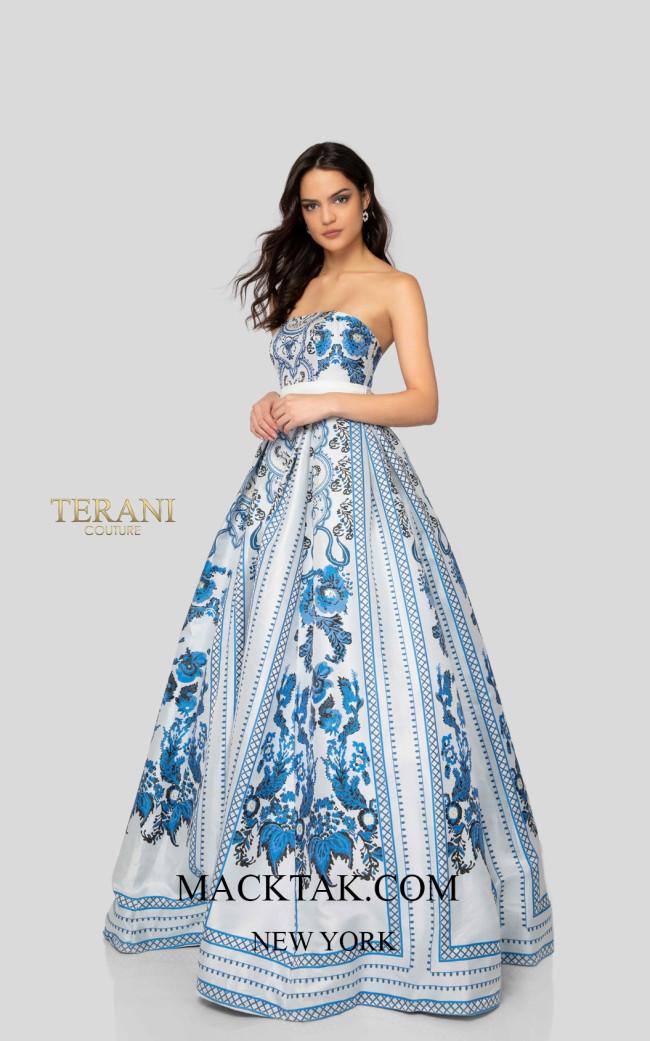 Terani 1911P8516 White Blue Front Dress