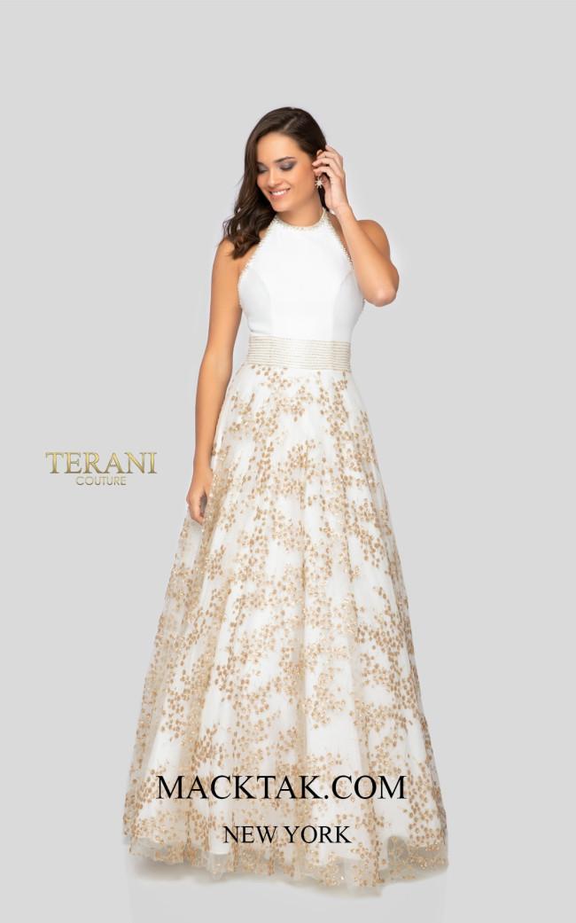Terani 1911P8518 Ivory Gold Front Dress