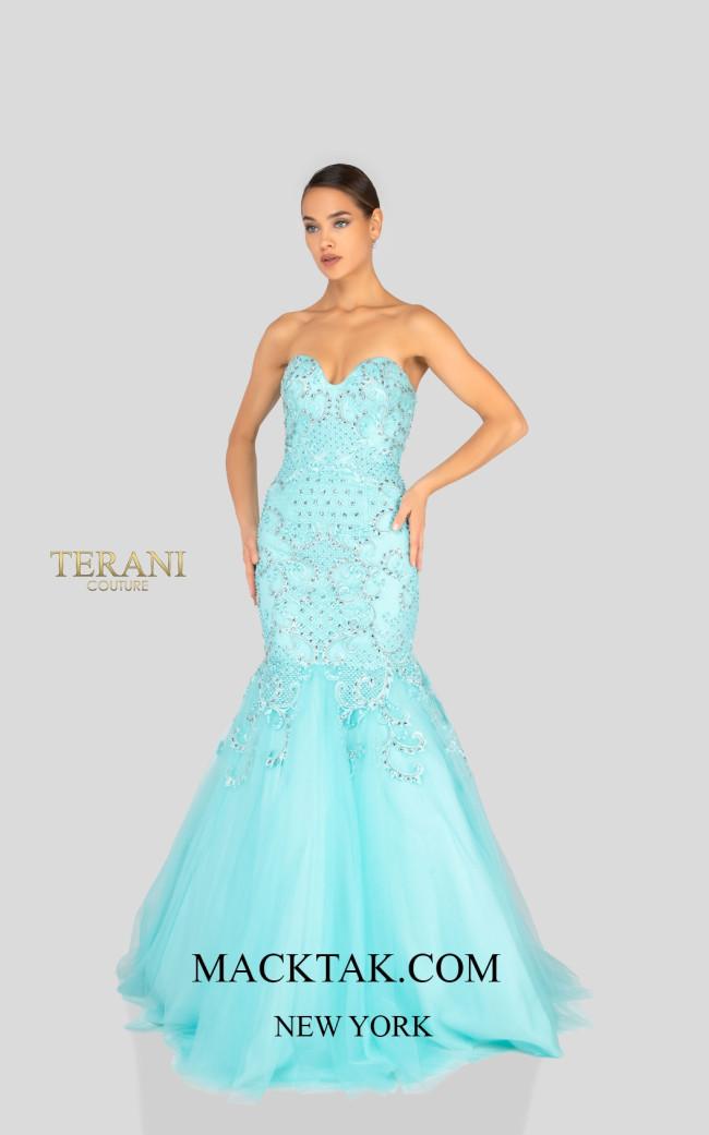 Terani 1911P8636 Aqua Nude Front Dress
